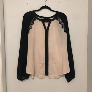 New York & Company Nude/Black Sheer Blouse Size XL